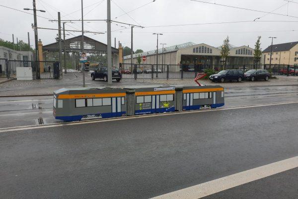Mini Tram 1157 Ankunft Endstelle Straßenbahnhof Dölitz