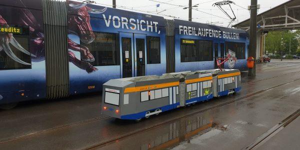 Mini Tram 1157 auf der Abstellfläche Dölitz